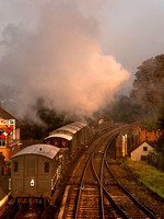 A freight train leaves Bewdley