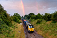 _DSC9279 A chance visit to Old Milverton for 66558 with a container train rainbow and all! 21.10pm 11.7.12